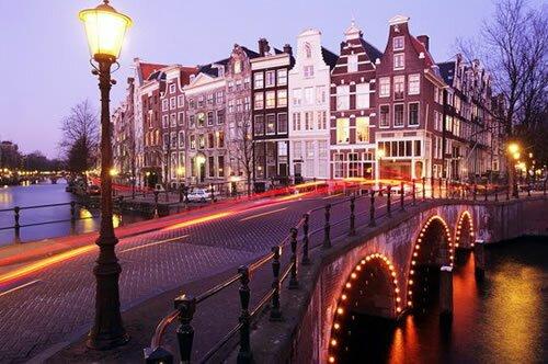 Закат солнца в Амстердаме